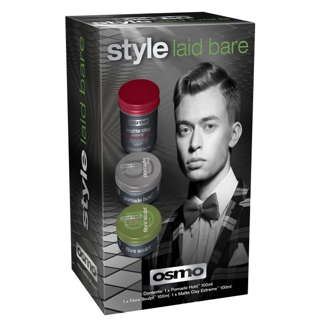 Osmo Style Laid Bare Grooming Gift Pack (Matte Clay, Pomage Hold & Fibre Sculpt)