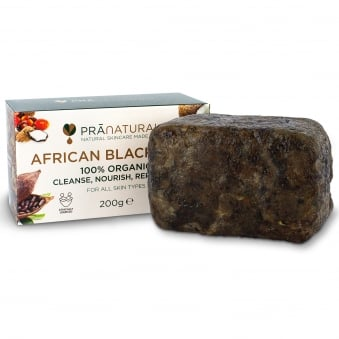 PraNaturals African Organic Black Soap - 200g
