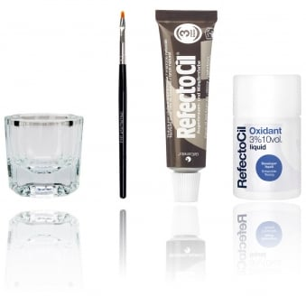 Refectocil Professional Eyelash / Eyebrow Tinting Dye Kit (Includes: Tint, Brush, Dish, Developer) Colour: 3 = Natural Brown