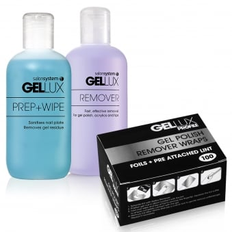 Gellux Uv Led Gel Nail Polish Prep + Wipe Off + Nail Gel Rem + Remover Wraps