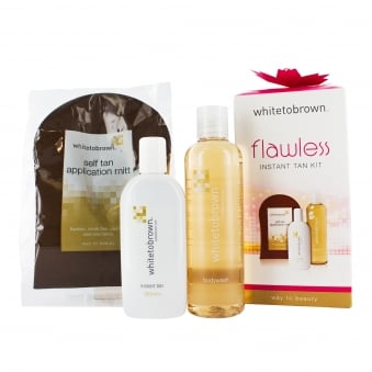 Whitetobrown FLAWLESS Instant Tan Kit (150ml Tan Liquid, Mitt, 250ml Body Wash)